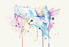 White Barn Owl Watercolor Art Print