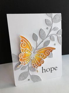 I used a couple older Simon Says Stamp dies to make a card today. I used the Devonshire and Paulina Butterfly dies along with the Clustered Leaves die.I took a piece of watercolor paper, folded it Paper Cards, Diy Cards, Stampin Up Karten, Leaf Cards, Embossed Cards, Card Making Techniques, Get Well Cards, Butterfly Cards, Sympathy Cards
