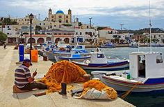 Harbor with fisherman, boats and church. Island of Lipsi, Dodecanese, Greece Places Around The World, Oh The Places You'll Go, Zorba The Greek, Santorini Villas, Myconos, Greece Honeymoon, Karpathos, Paradise On Earth, Greece Travel