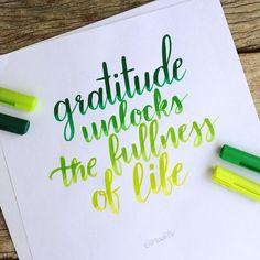 Gratitude unlocks the fullness of life  #thxgivinglettering . . #brushlettering #brushcalligraphy #calligraphy #lettering #handlettering #handletteringnewbie #dailylettering #moderncalligraphy #modernlettering #handtype