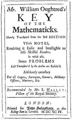 Copertina dell'edizione del 1694 della Key of Mathematics di William Oughtred