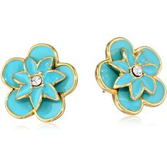 """kate spade new york """"Graceful Floral"""" Blue Large Stud Earrings ($58) found on Polyvore"""
