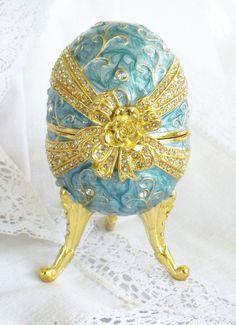 Vintage Music Box Faberge Egg Style Blue Enamel Rhinestones