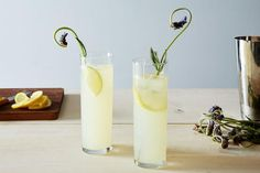 """You can't do wrong with this spring-appropriatelemon lavender gin rickey creation. """"Having been around for over 100 years, with its combination of bubbles, booze, and acid, the gin rickey. Best Gin Cocktails, Craft Cocktails, Cocktail Drinks, Cocktail Recipes, Alcoholic Drinks, Beverages, Classic Cocktails, Cocktail Shaker, Party Drinks"""