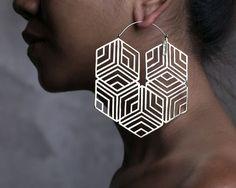Hexagonal boucles d'oreilles - créoles laiton blanc cire perdue fil inox