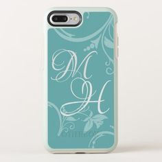 #Turquoise Floral Double Monogrammed OtterBox Symmetry iPhone 8 Plus/7 Plus Case - #girly #iphone #cases
