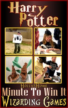 Harry Potter Minute to Win it Wizarding Games. #HollysHome #HarryPotter #MinuteToWinIT