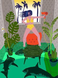 VO | Valérie Oualid : Agent d'illustrateurs | Ludwick Hernandez | L'été Grinch, Illustration, Artist, Movies, Movie Posters, Water, Illustrations, Films, Artists