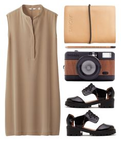 """""""UNIQLO Women Silk Sleeveless Dress"""" by thestyleartisan ❤ liked on Polyvore"""
