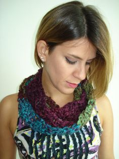 Clearance SALE Small Handmade Crochet Cowl in a funky by Belisse