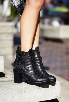 Dream Weaver Booties | FOREVER21 Edgy and fabulous #Leather #Buckle #AnkleStrap #OMGF21Shoes