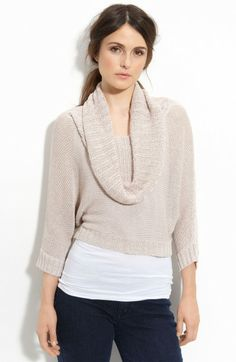 nice drape of cowl -- Bcbgmaxazria Beige Cowl Neck Sweater