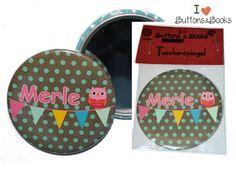 Eule+Taschenspiegel+Handspiegel+59mm+Punkte+Name+von+Buttons&Books+auf+DaWanda.com