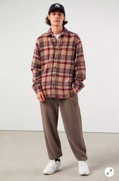 Twill Shirt, Stylish Mens Outfits, Thrift Fashion, Casual Street Style, Mens Fashion, Streetwear Men, Streetwear Fashion, Flannel Outfits, Fall Outfits
