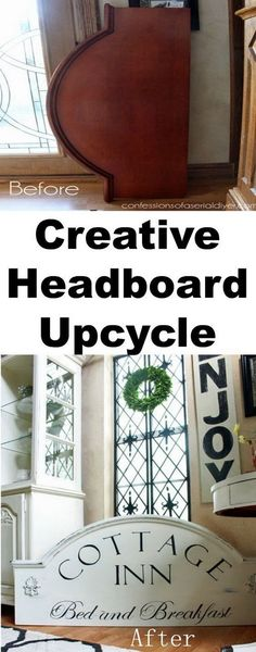 DIY Furniture Makeovers: From Bed Headboard to Breakfast Sign.