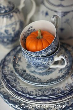 Pumpkins Hiding in Teacups...Cute!