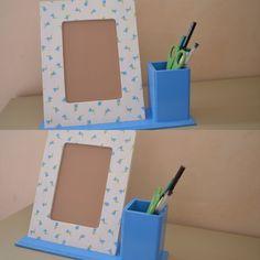 Porta retrato com porta lápis ✏️🎁🖌