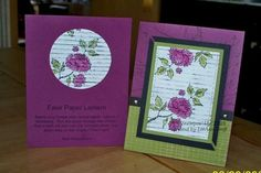 handmade cards:  faux paper lantern technique cards ... luv the purple and olive combo ... Asian Artistry ... Stampin' Up!