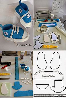 Tutorial # Little All Star Schuhvorlage – von Verusca Wal … - Bake a Cake 2019 Doll Shoe Patterns, Baby Shoes Pattern, Dress Patterns, Baby Boots, Baby Girl Shoes, Baby Decor, Baby Shower Decorations, Fondant Baby Shoes, Moldes Para Baby Shower