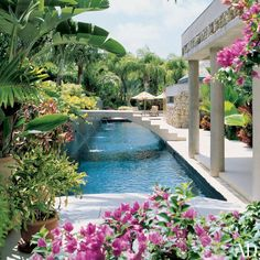 LIZ CLAIBORNE Guests enter the property via a footbridge that crosses a sparkling 66-foot-long lap pool; landscape designer Larry Nathanson created the lush gardens, which are planted with foxtail palms, Cuban fan palms, bougainvillea, jasmine, and other tropical vegetation.