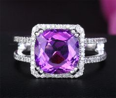 Engagement Purple Wedding Rings | ... Purple Amethyst 14k White Gold 51ct Diamond Engagement Wedding Ring