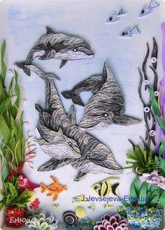 Картина, панно, Открытка Квиллинг: Дельфины и открыточки Бумага. Фото 1