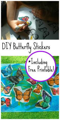 Easy DIY Butterfly Stickers- A fun activity for all ages! {Includes Free Printable}