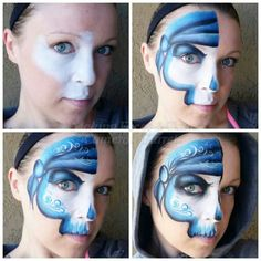 One stroke and sponged half pirate face painting tutorial Face Painting Tips, Face Painting For Boys, Face Painting Tutorials, Face Painting Designs, Paint Designs, Pirate Face, Pirate Skull, Mime Face Paint, Cheek Art