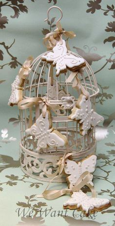 Adore this Birdcage with Butterfly Cookies-perfect for a Bridal Shower...
