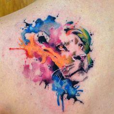 Watercolor, back tattoo on TattooChief.com