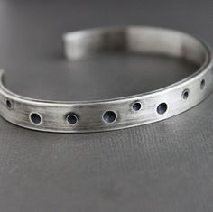 Mens Cuff Bracelet Thick Sterling Silver w/ Drilled Dots