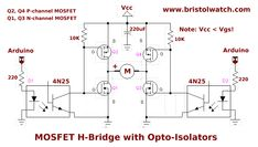 Learning how to use power MOSFETs by building an H-bridge motor control. Includes schematics and circuit examples. Electronics Projects, Electronics Storage, Electronic Circuit Projects, Electronic Engineering, Arduino Projects, Mechanical Engineering, Electrical Engineering, Electronics Gadgets, Electronic Art