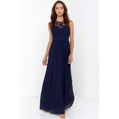 So Far Gown Navy Blue Lace Maxi Dress ($58) ❤ liked on Polyvore