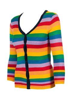 ae466716ca Rainbow 3 4 Sleeve Button Down Cardigan Sweater - Rainbow - C412270WKKZ