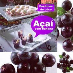 Hoje vamos falar dum fruto…Açaí! Foi-nos apresentado pela nossa nutriocionista amiga a Drª Patricia França, no show cooking do nosso 3º Encontro, com receitas saudáveis e atrativas aos nossos olhos! Docinho de côco, açaí com banana em pequenos potinhos. #docinhodecocoyupilife