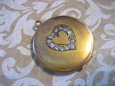 Art Deco Gold Filled Locket with Paste Stone