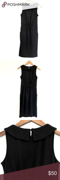 J. Crew Black Pencil Dress Audrey Hepburn-esque black dress by J. Crew 3 flowers cinched around waistline flap around neckline keyhole button closure in back side zipper pockets 62% Polyester 32% Lyocell 6% Wool Thick and SO soft, will keep you warm Beautiful dress prefect for holiday parties or any evening occasion, perfect for work Never worn! Dress is in perfect condition No longer available at J. Crew  Price is Firm J. Crew Dresses Midi