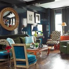 Peacock Blue Lacquered Walls, Transitional, living room, Farrow & Ball Hague Blue, Miles Redd