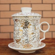 Ufingo-White Ceramic Porcelain Chinese Flower Tea Cup With Lid Filter And Saucer
