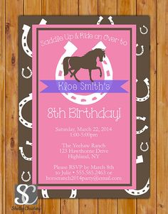 Horse Birthday Invitation Horse Riding Invite Lucky by scadesigns, $16.00