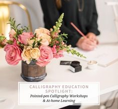 These photos were taken back in January 2020 by our friends at Simply Sweet Root {who also provided these beautiful floral arrangements - check them out Laura Hooper Calligraphy, Calligraphy Practice, Home Learning, Floral Arrangements, January, Workshop, Table Decorations, Education, Friends