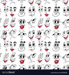 Illustration of facial expressions , Cartoon Faces Expressions, Funny Cartoon Faces, Drawing Cartoon Faces, Cartoon Eyes, Rock Painting Designs, Paint Designs, Simple Cartoon, Pebble Art, Stone Art
