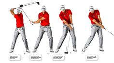 Just as it's critical to stop everything together at the end of your backswing, it's equally important to start everything together on the way down. I don't like the feeling of one part of my body getting ahead of another. It's easier to keep the club on-plane if you think of your downswing as a one-piece motion. While my hips may actually start my swing, that's not the feeling I want. When I think about my hips or my shoulders, I tend to overuse them. Keep it simple: Get everything moving…