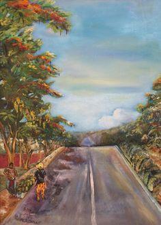 Buy Street in Summer, Oil painting by Geeta Biswas on Artfinder. #india #art #summer #oilpainting #originalart #geetabiswas #emergingartist #street #under$500 #artforsale
