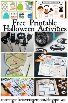Musings of an Average Mom: Free Printable Games and Activities Halloween Crafts For Toddlers, Halloween Activities, Toddler Crafts, Preschool Crafts, Activities For Kids, Kids Crafts, Free Printable Calendar, Free Printables, Printables Organizational