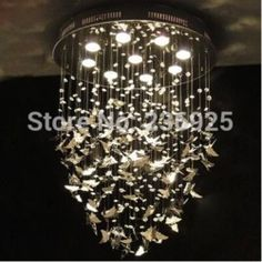 Online Shop Stainless Steel Butterfly Dia40CM/50CM/60CM LED Crystal Lamp Art Band Designer XX76|Aliexpress Mobile