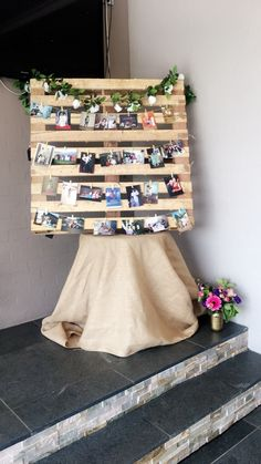 Pallet Photo Display  D.I.Y * Wooden pallet * Battery operated fairy lights * Twine * Mini pegs * Great photographs