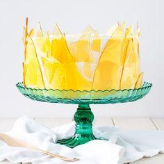 Crème Brûlée inspired layer cake recipe with vanilla bean cake, vanilla custard and caramel sugar shards. No torch needed!