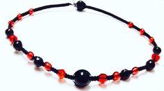 Black Onyx Necklace - Gemstone Necklace - Black Onyx Gembeads and Red Glass Beads - Macrame Necklace - Black and Red - Black Onyx Jewelry by OurUniverseShop on Etsy