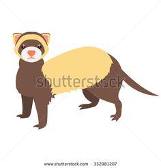 Flat ferret illustration - stock vector